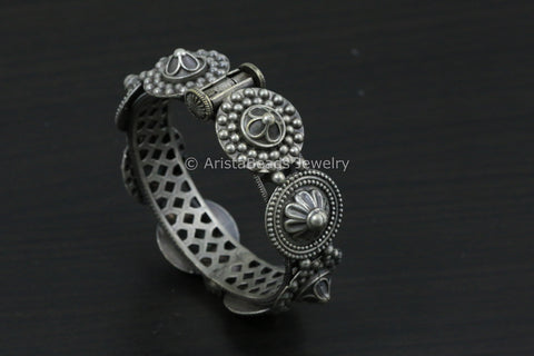 Silver Look Alike Oxidized Bangle/ Kada