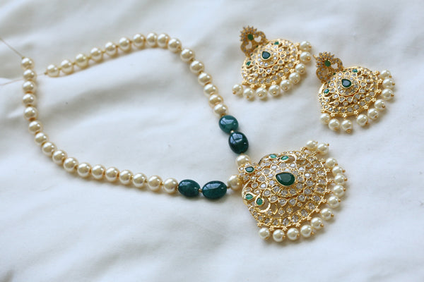 Emerald CZ Pendant Set In Pearl Mala