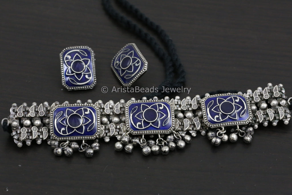 Dark Blue Enamel Choker & Stud Set