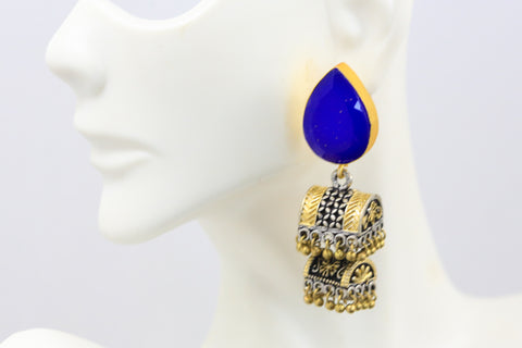 Blue Stud  Layered Jhumka