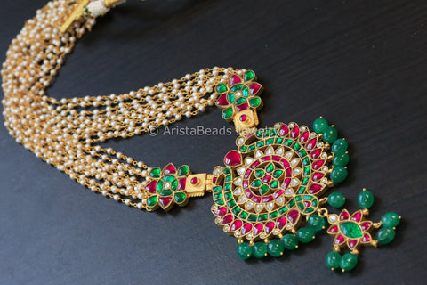 Emerald Ruby Jadau Kundan Necklace