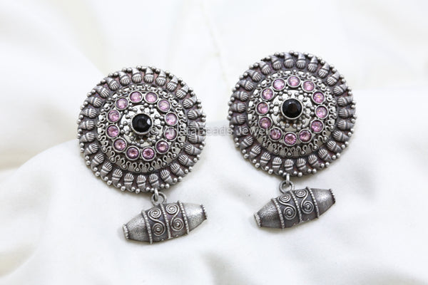 Large Stud With Bead Drops - Black Pink