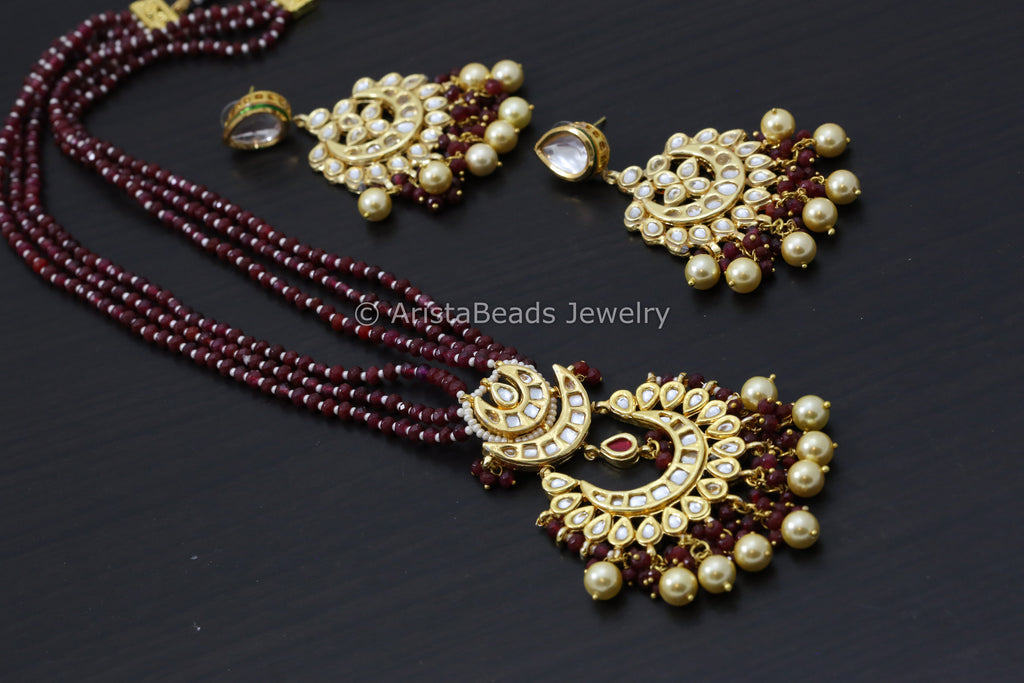 Jaipur Kundan Chandbaali Necklace Set - Red