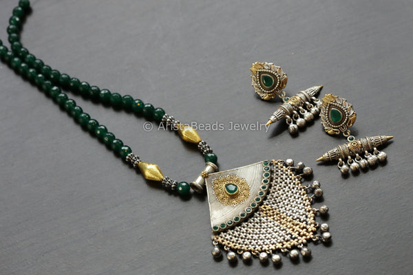 Green Oxidized Necklace