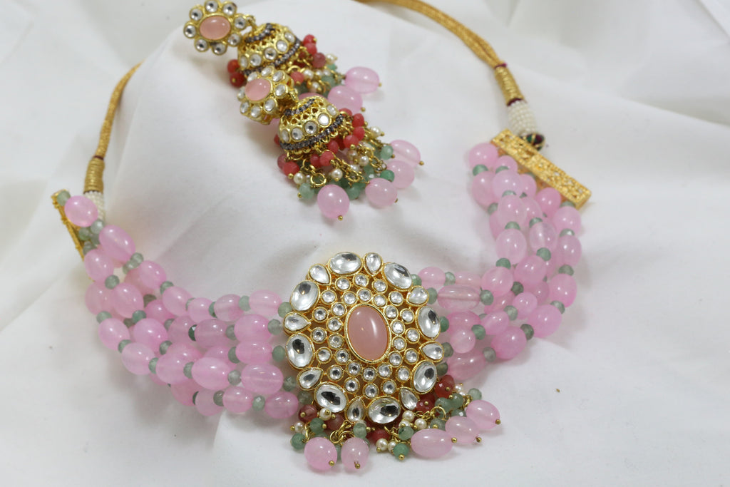 Contemporary Kundan Choker Set - Pink