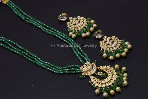 Jaipur Kundan Chandbaali Necklace Set - Green