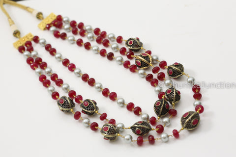 Contemporary Mala Necklace Set - Red