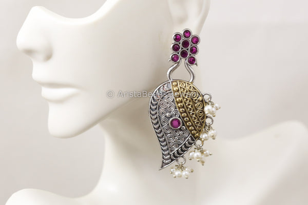 Dual Tone Paisley Earrings - Ruby