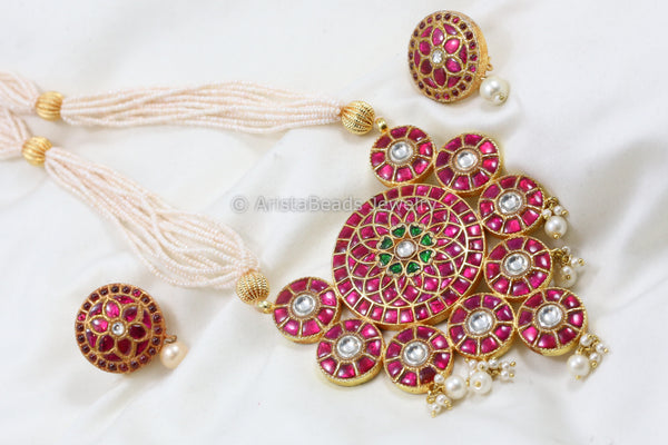 Handmade Ruby Polki Kundan Necklace