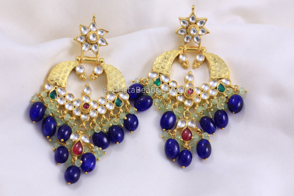Silver Replica Handmade Kundan Earrings