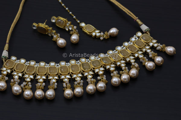 Carved Stones Real Pearl Kundan Set  - Yellow