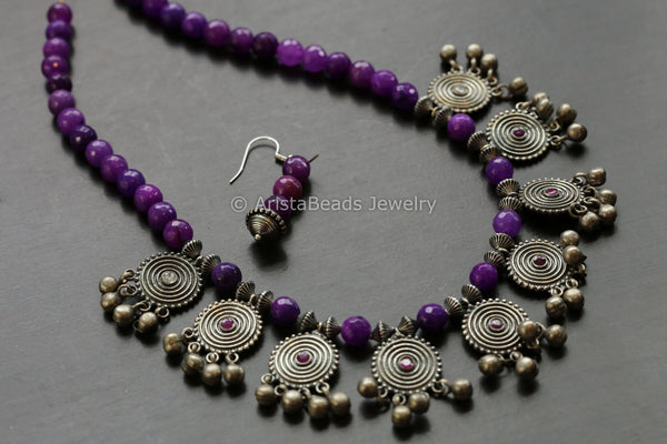 Purple Oxidized Necklace
