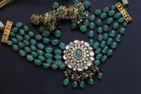 Contemporary Green Kundan Choker Jhumka Set