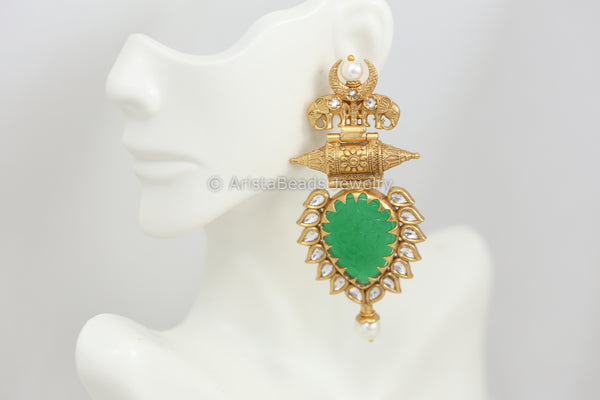 Large Emerald Semiprecious Earrings