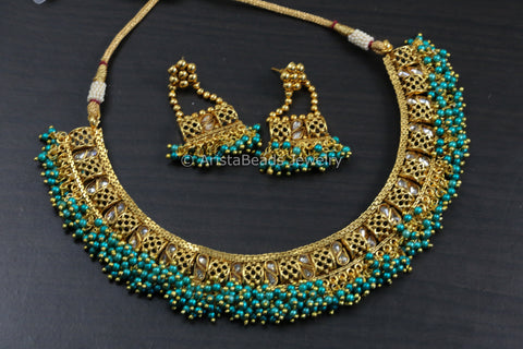 Guttapusalu Teal Blue Necklace Set