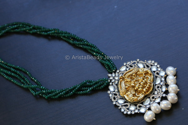 Contemporary Kundan Necklace - Green