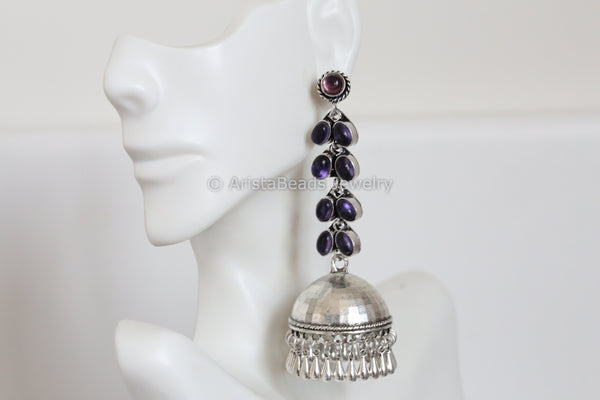 Purple Oxidized Jhumka