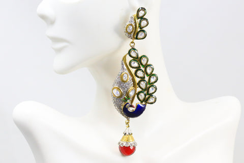 Polki Victorian Peacock Earrings