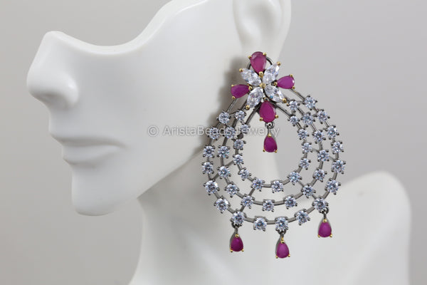 Victorian Oxidized Ruby Earrings