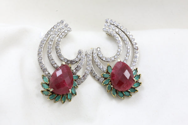 Victorian Emerald Ruby Studs