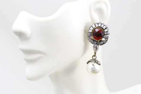 Red & Pearl Victorian Earrings