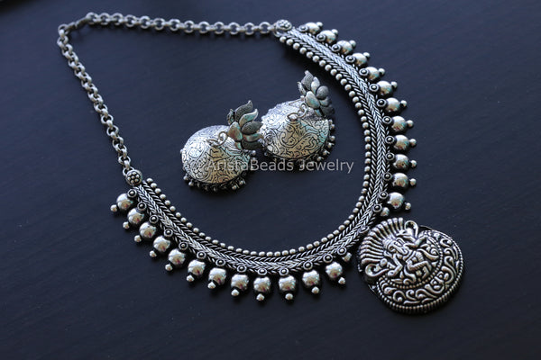 Ganesha Oxidized Temple Necklace