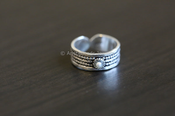 925 Sterling Silver Toe Ring - Pearl