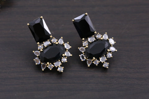 Small Contemporary CZ Earrings - Black