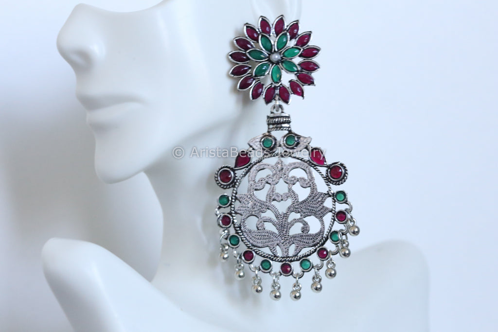 Large Oxidized Ruby Emerald Chandbaali