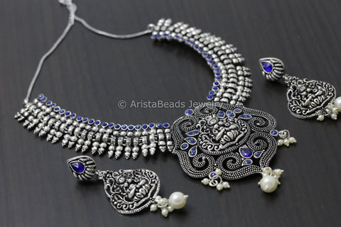 Oxidized Blue Lakshmi Necklace