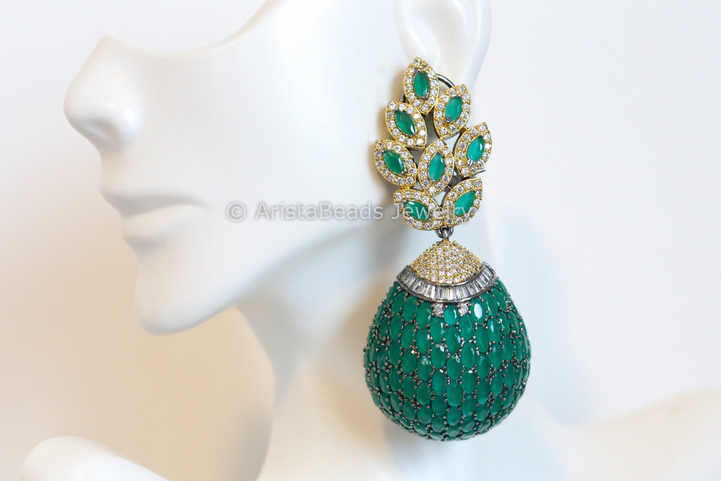 Stylish Emerald Green Earrings