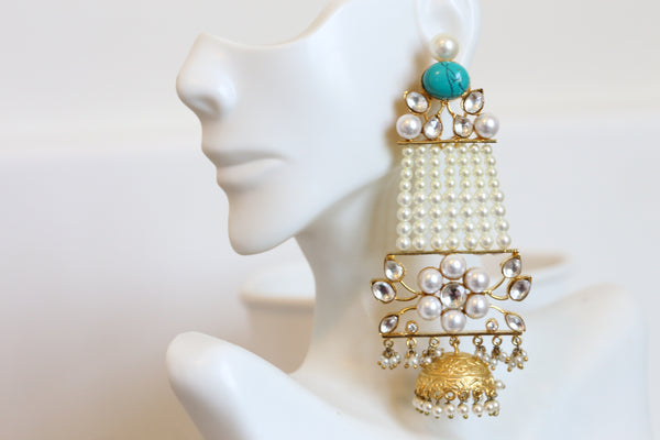 Turquoise  Kundan Pasa Earrings