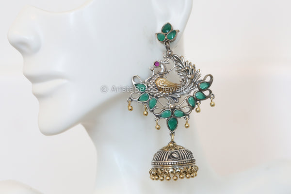 Layered Two Tone Emerald Peacock Earring