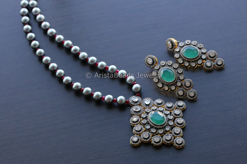 Black Pearl Emerald Victorian Necklace