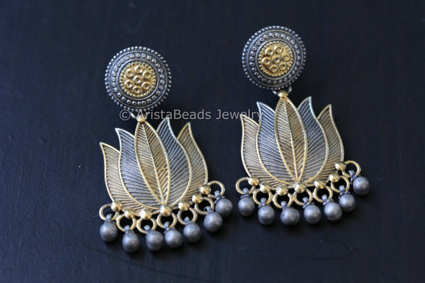 Dual Tone 925 Sterling Silver Lotus Earrings