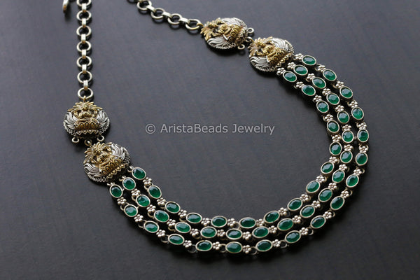 Emerald Stones Dual Tone Necklace
