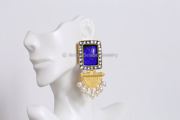 Contemporary Blue Matt Gold Earrings