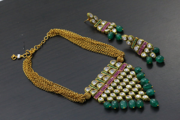 Emerald AD Kundan Tanmani Necklace