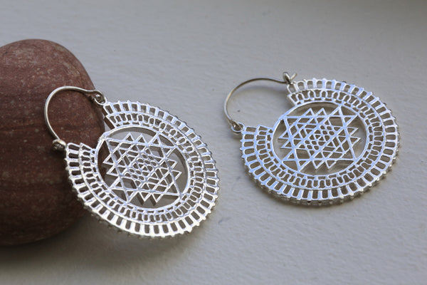Silver Shri Yantra Brass Earrings - AristaBeads Jewelry - 2