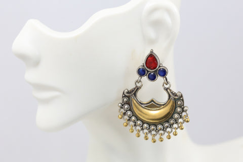Red Blue CZ Chandbaali