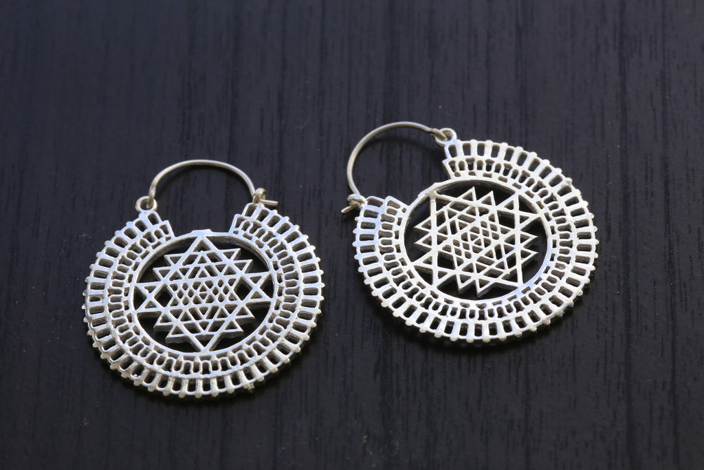Silver Shri Yantra Brass Earrings - AristaBeads Jewelry - 1