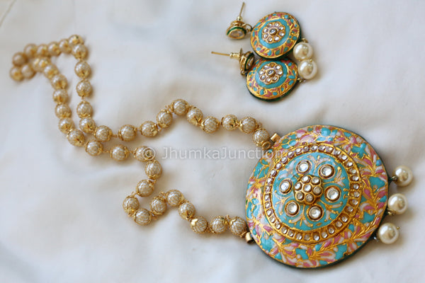 Uncut CZ Necklace with Chandbaali Earrings