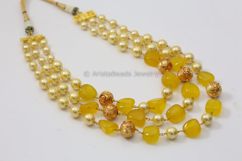 Yellow Jade Mala Necklace