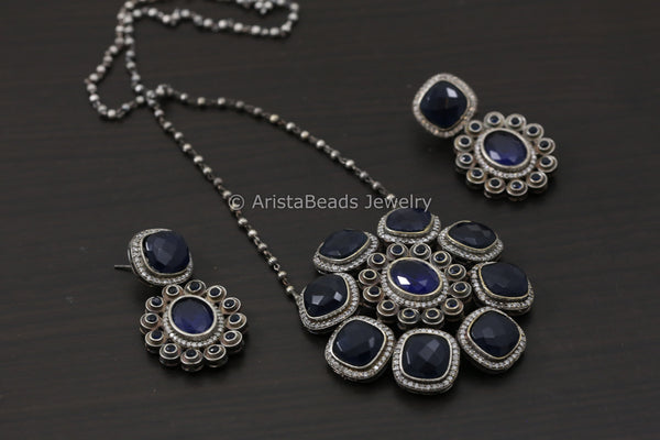 Silver Look Alike Stone Necklace Set - Blue