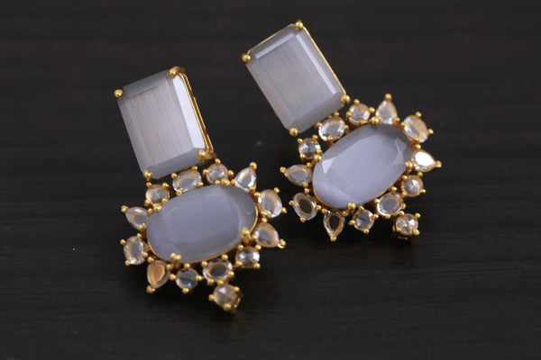 Small Contemporary CZ Earrings - Gray