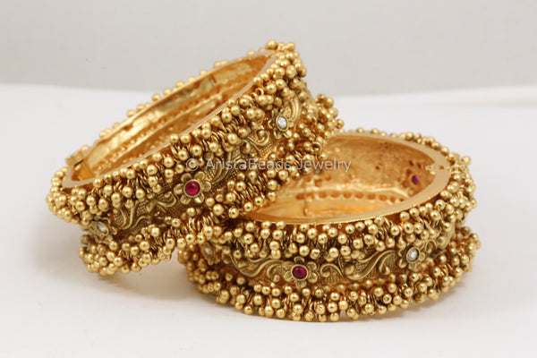 Antique Gold Ghungroo Jadau Bangle - Openable