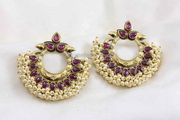 Antique Ruby Pearl Chandbaali