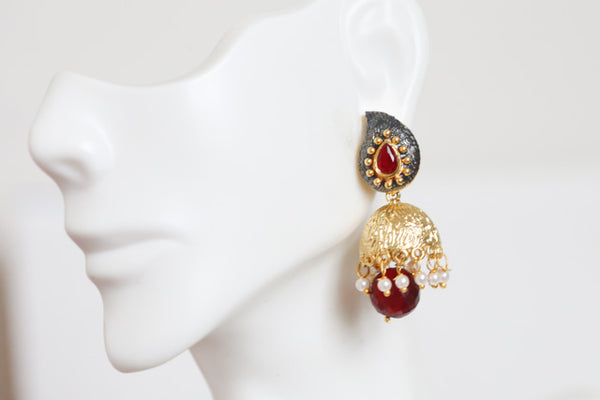 Contemporary Red Jhumka