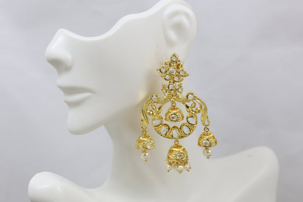 Clear Polki Layered Jhumka Chandbaali