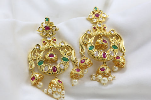 Multicolor Polki Layered Jhumka Chandbaali